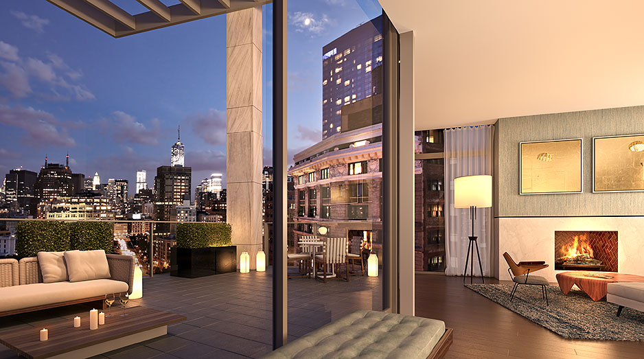 penthouses the three penthouses at one vandam provide beautifully