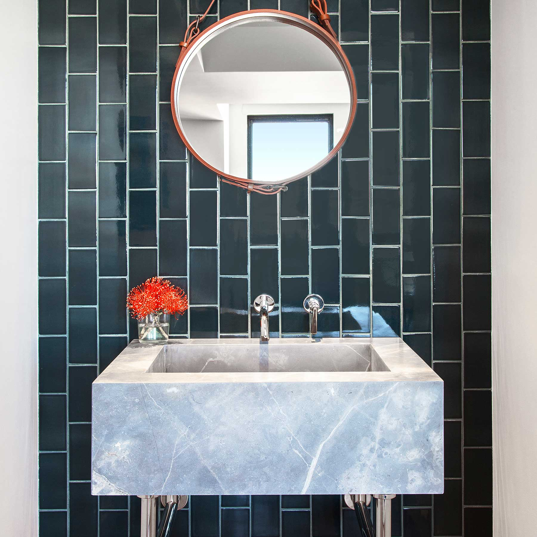 Luxurious residences in soho nyc one vandam the honed custom st germain marble slab sink is dramatically offset by admiral blue waterworks tile and jaques adnet circulair mirror dailygadgetfo Image collections